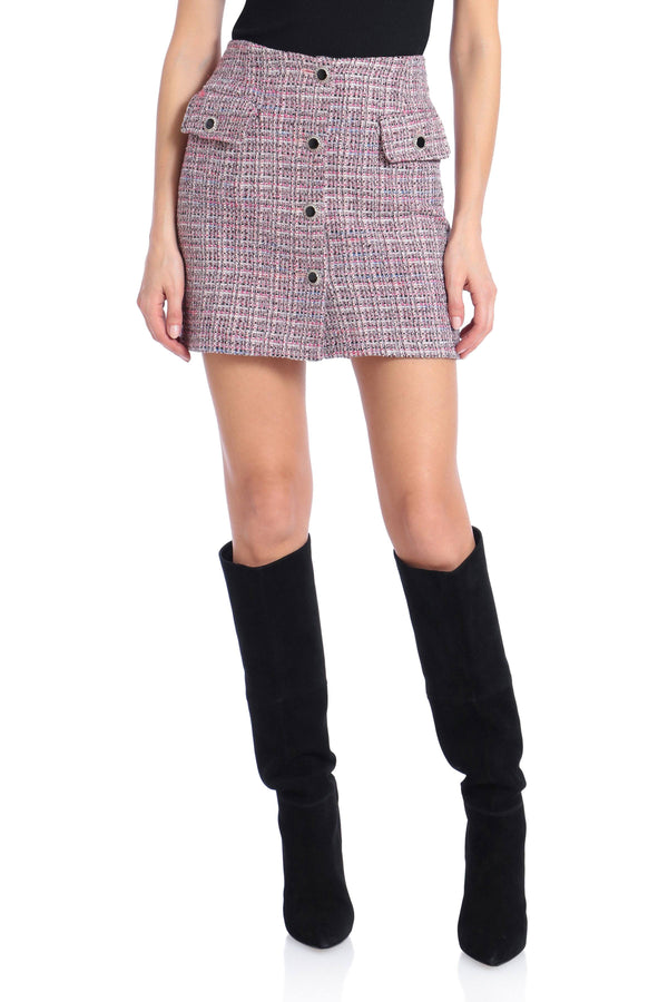 Button-Front Tweed Mini Skirt Bottoms Avec Les Filles Pink Tweed L