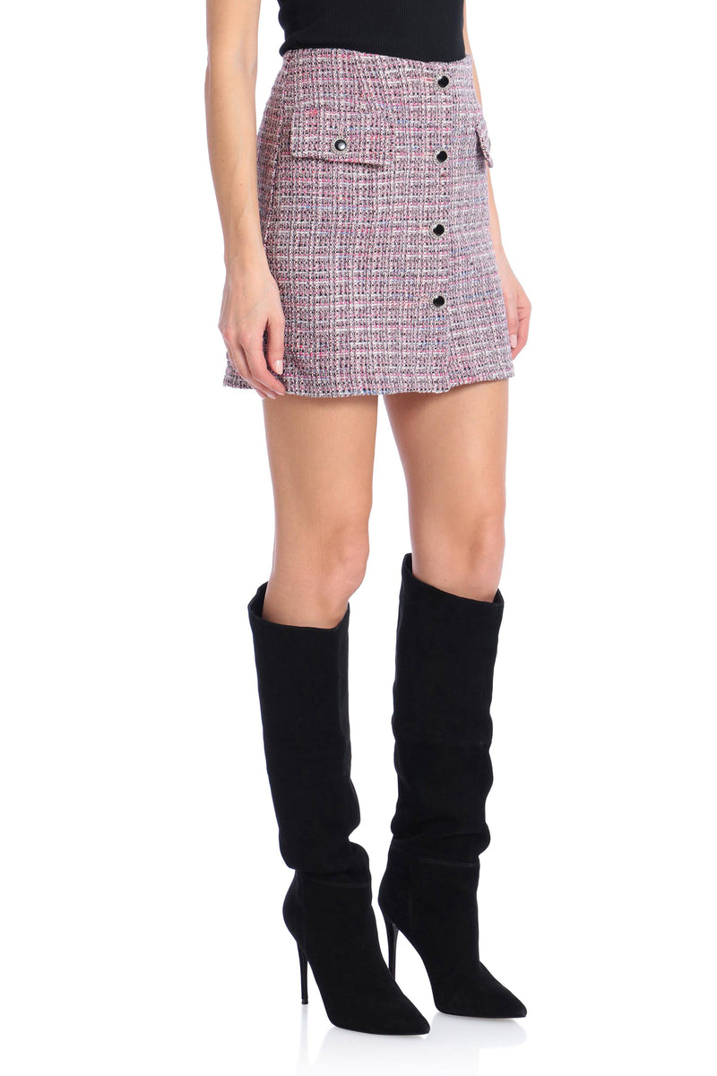 Button-Front Tweed Mini Skirt