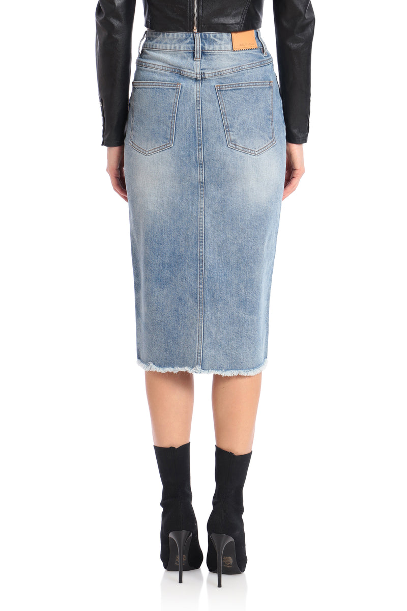 Denim Pencil Skirt Bottoms Avec Les Filles