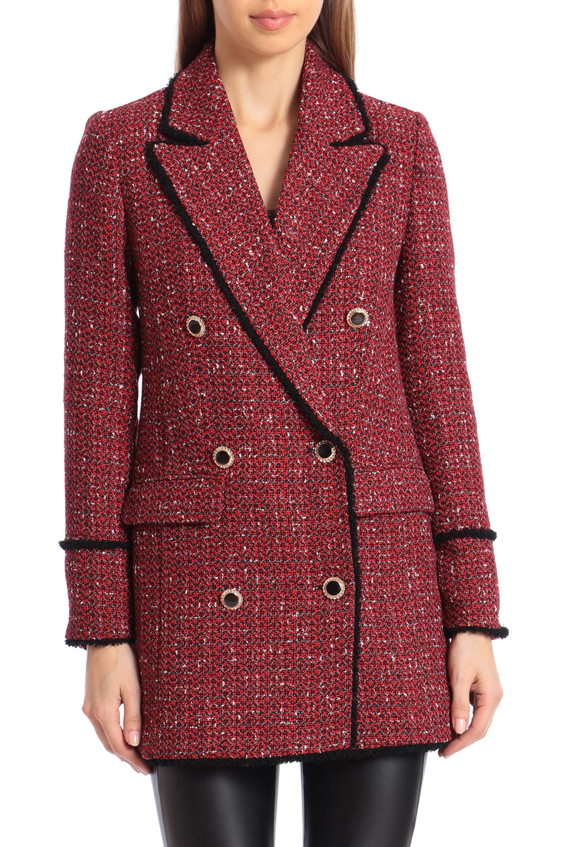 Double-Breasted Tweed Blazer Outerwear Avec Les Filles Red Multi L