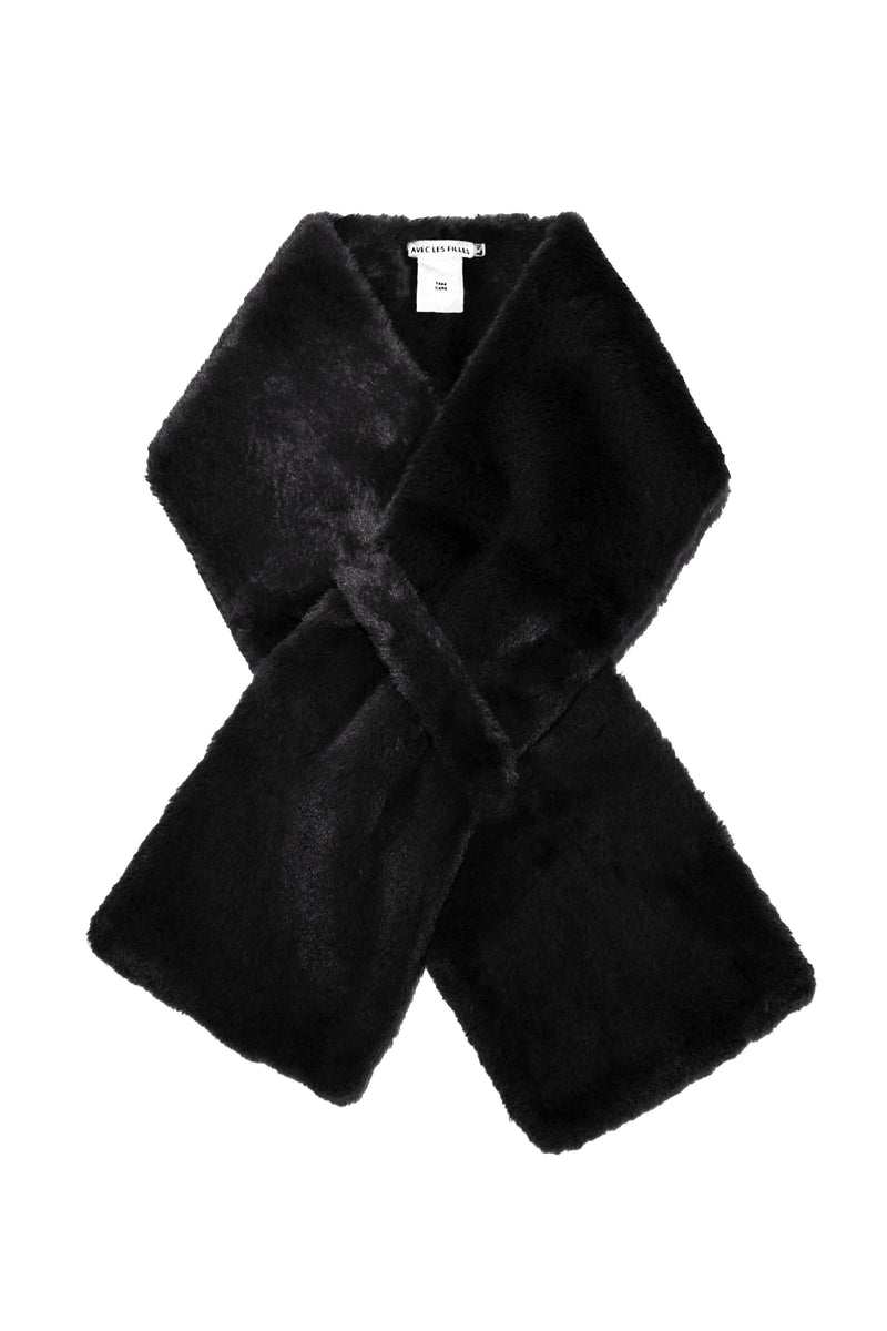 Faux Fur Pull-Through Scarf Accessories Avec Les Filles O/S Black