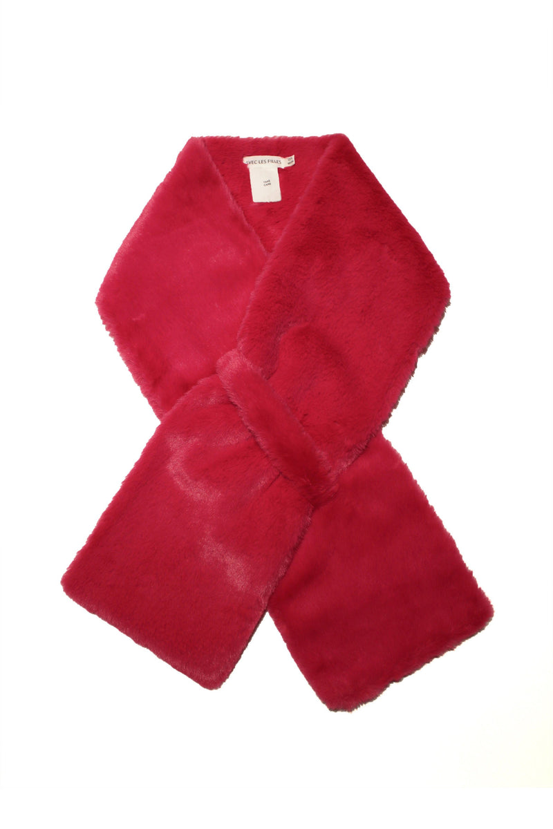 Faux Fur Pull-Through Scarf Accessories Avec Les Filles O/S Hibiscus