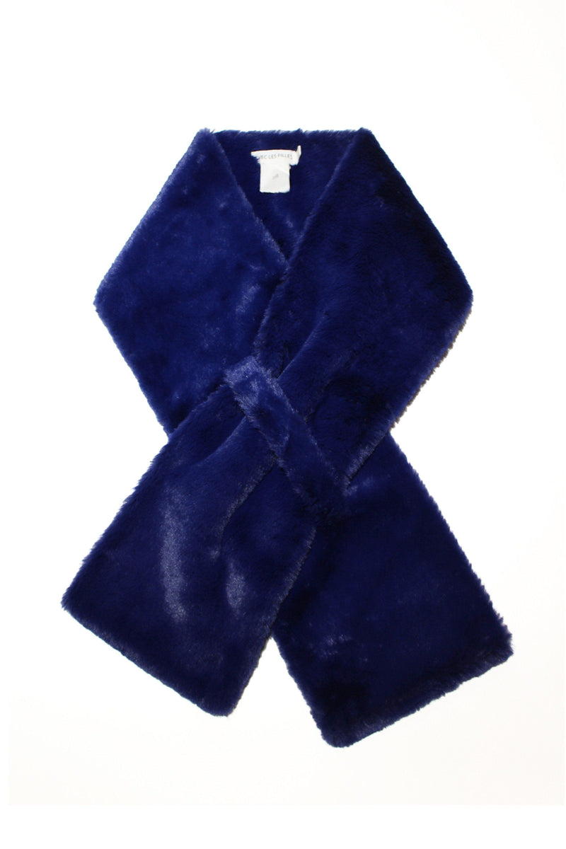 Faux Fur Pull-Through Scarf Accessories Avec Les Filles O/S Ultra Navy