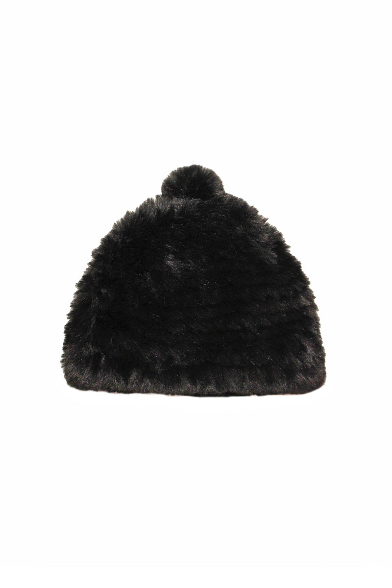 Knitted Faux Fur Beanie Accessories Avec Les Filles O/S Black