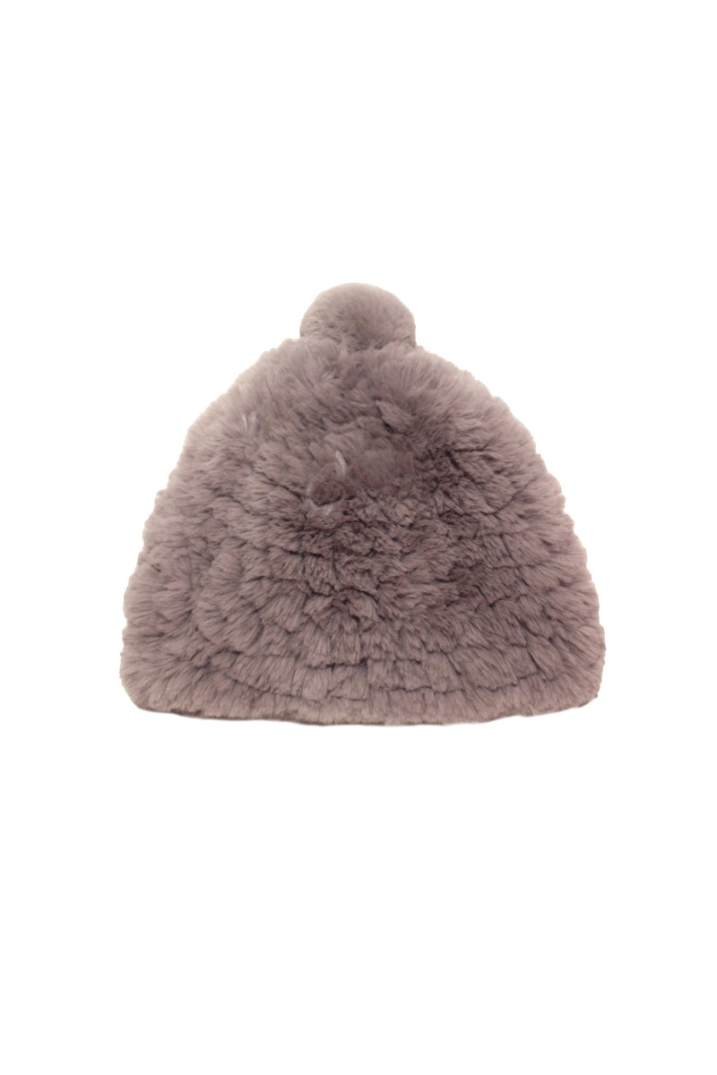 Knitted Faux Fur Beanie Accessories Avec Les Filles O/S Graphite