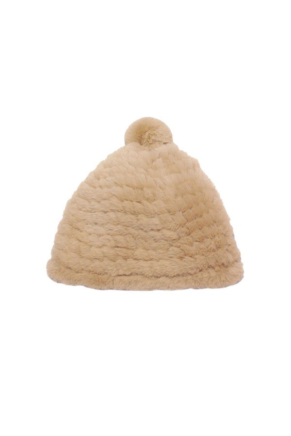 Knitted Faux Fur Beanie Accessories Avec Les Filles O/S Sand