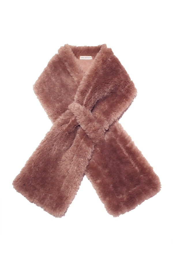 Faux Shearling Scarf Accessories Avec Les Filles One Size Rose Taupe