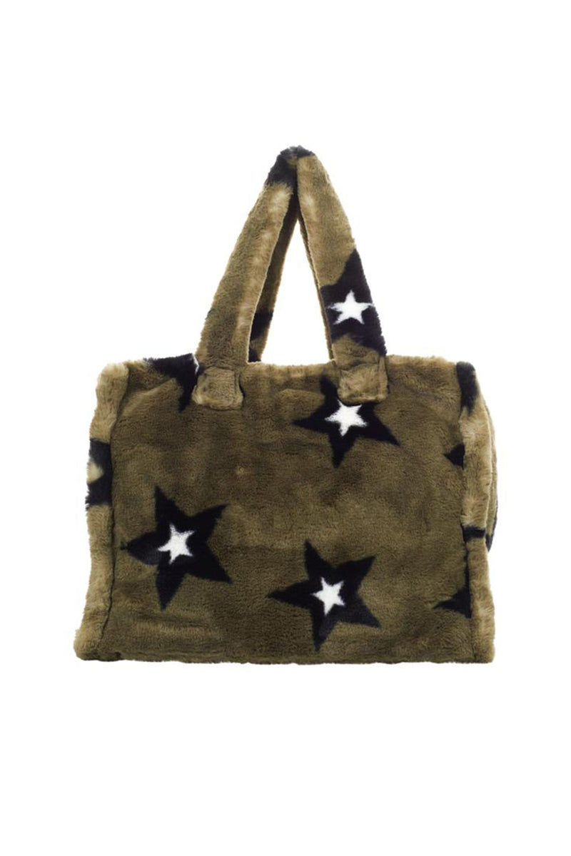 Printed Faux Fur Tote Accessories Avec Les Filles One Size Olive/Black Stars