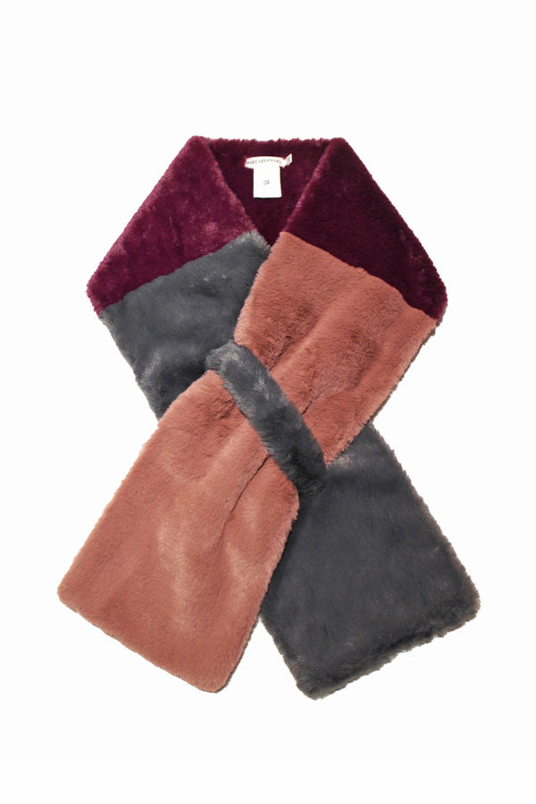 Colorblock Faux Fur Pull-Through Scarf Accessories Avec Les Filles One Size Graphite/Sangria/Rose Mauve