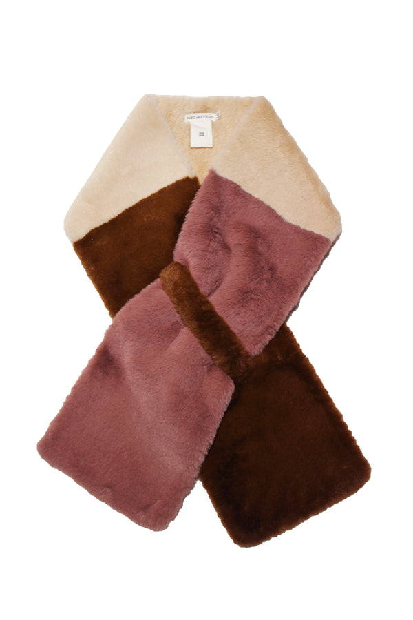Colorblock Faux Fur Pull-Through Scarf Accessories Avec Les Filles One Size Mink/Sand/Rose Mauve