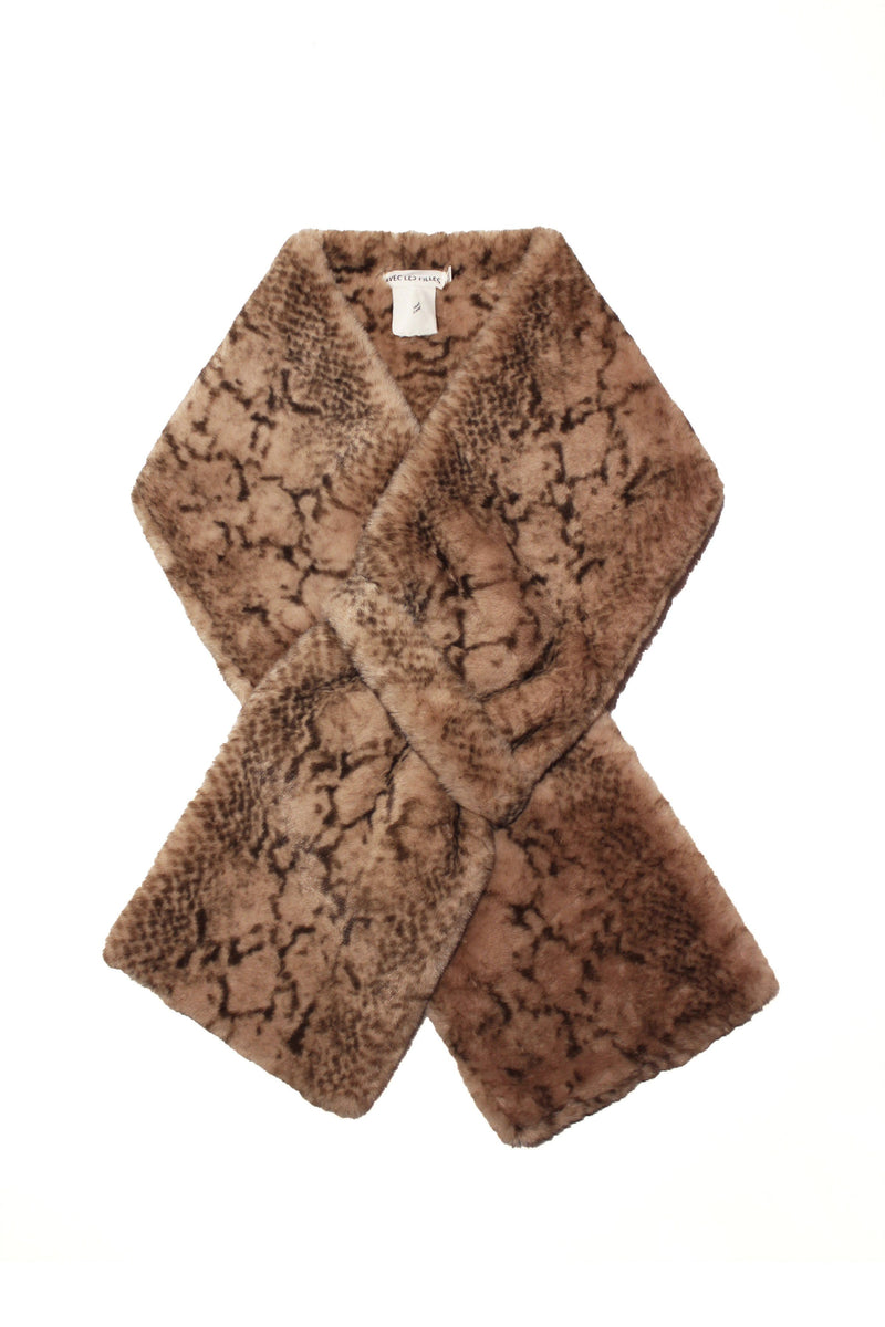 Novelty Printed Faux Fur Pull-Through Scarf Accessories Avec Les Filles One Size Beige Python
