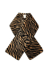 Novelty Printed Faux Fur Pull-Through Scarf Accessories Avec Les Filles One Size Camel/Black Tiger