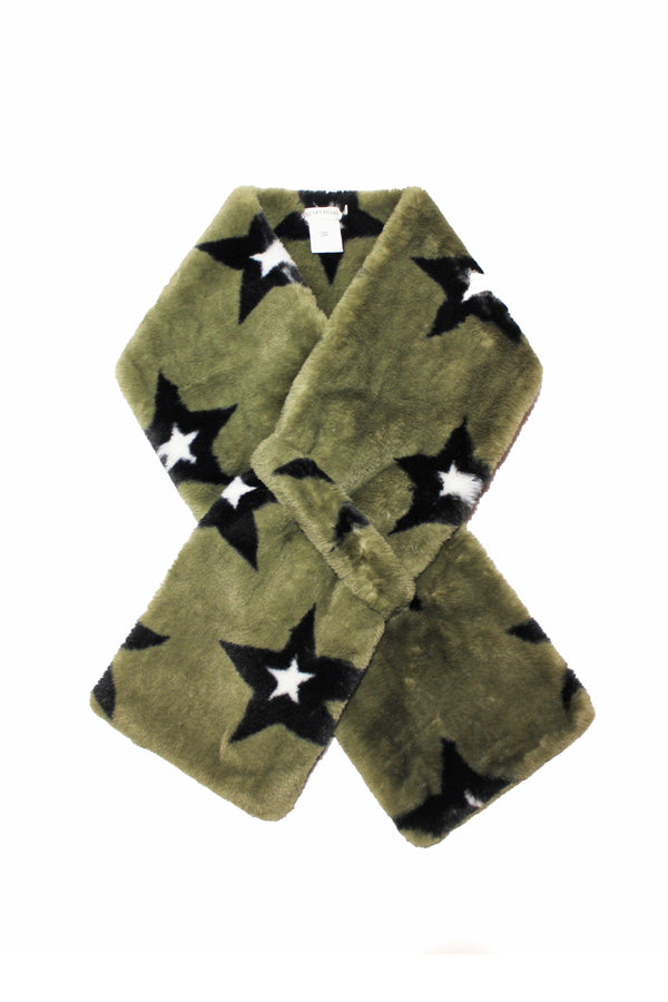 Novelty Printed Faux Fur Pull-Through Scarf Accessories Avec Les Filles One Size Olive/Black Stars