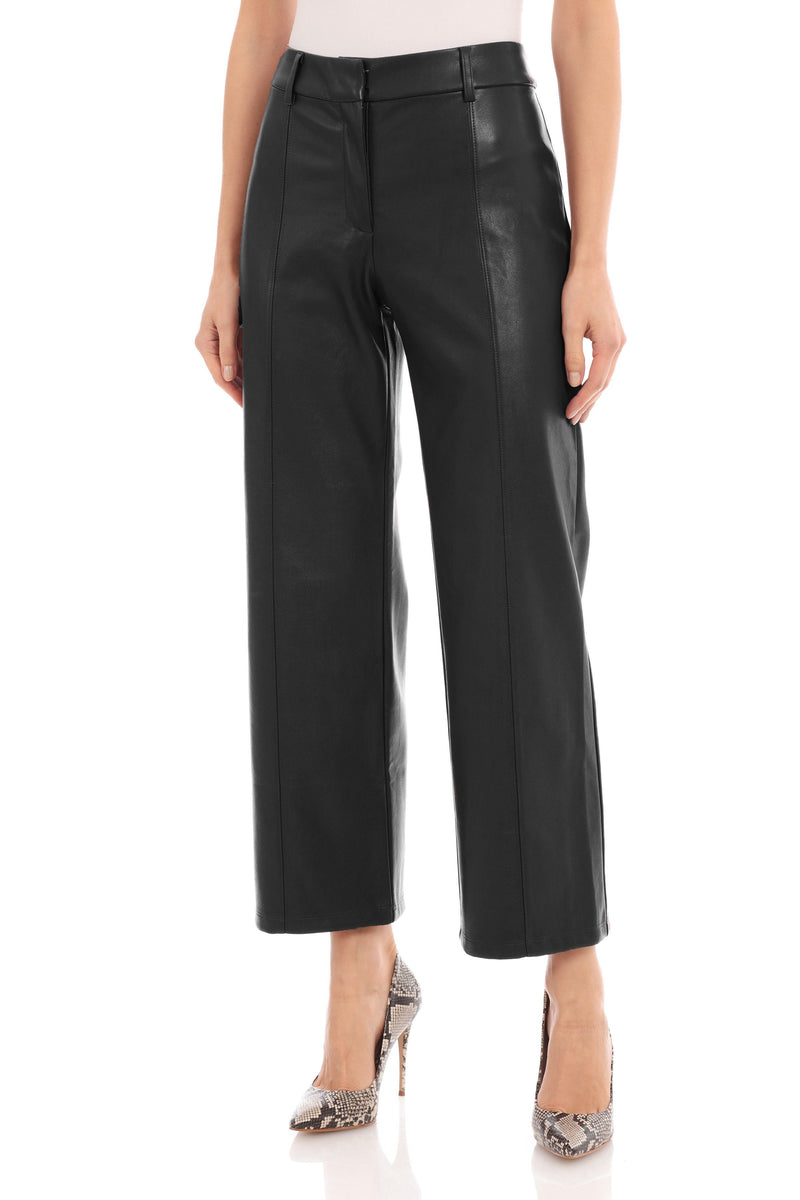 Vegan Leather Wide Leg Cropped Trouser Bottoms Avec Les Filles Black L