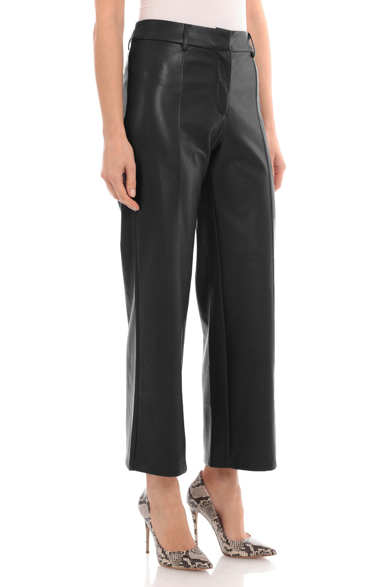 Vegan Leather Wide Leg Cropped Trouser Bottoms Avec Les Filles