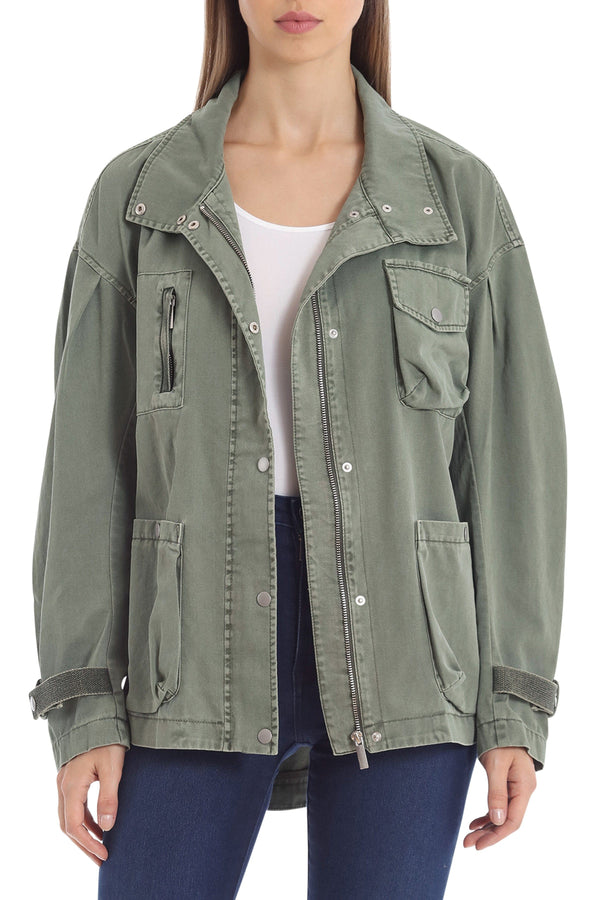 Drop-Shoulder Cotton Utility Jacket Outerwear Avec Les Filles Olive L