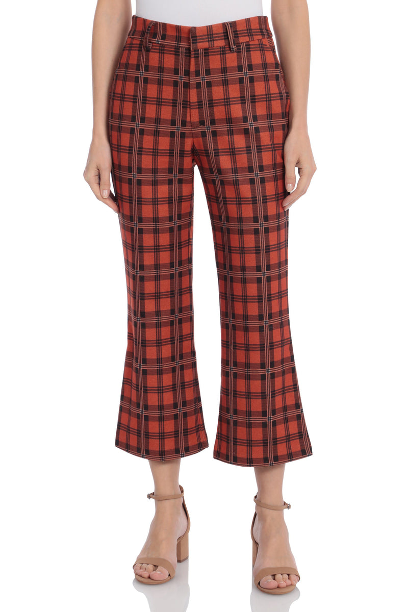 Plaid Kick Flare Ponte Trouser Bottoms Avec Les Filles Orange Plaid 10