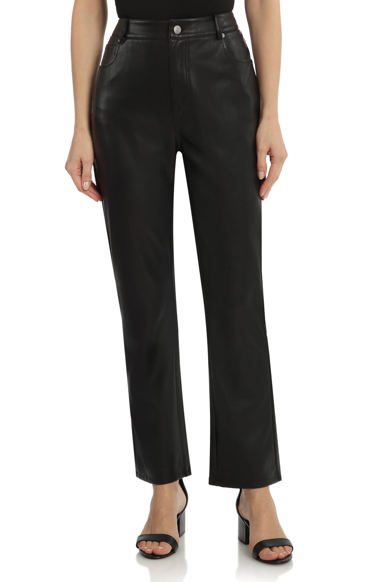 Straight Leg Vegan Leather Pant Bottoms Avec Les Filles