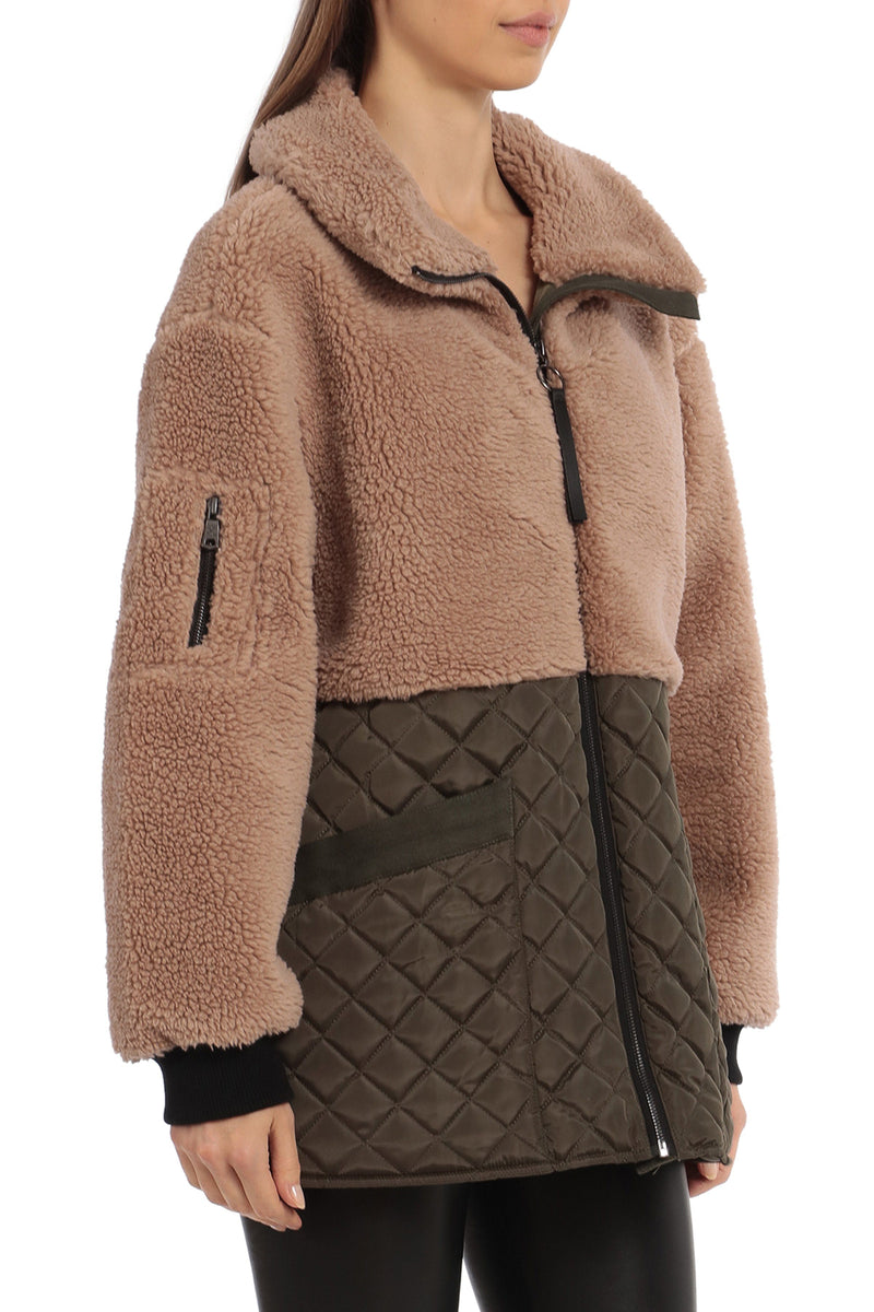 Mixed Media Teddy Quilted Jacket Outerwear Avec Les Filles