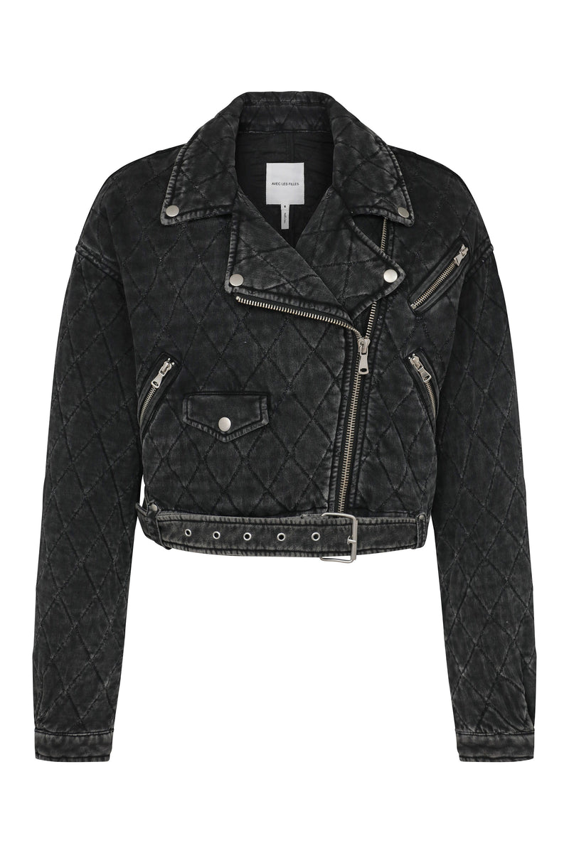 Quilted French Terry Cropped Biker Outerwear Avec Les Filles Washed Black L