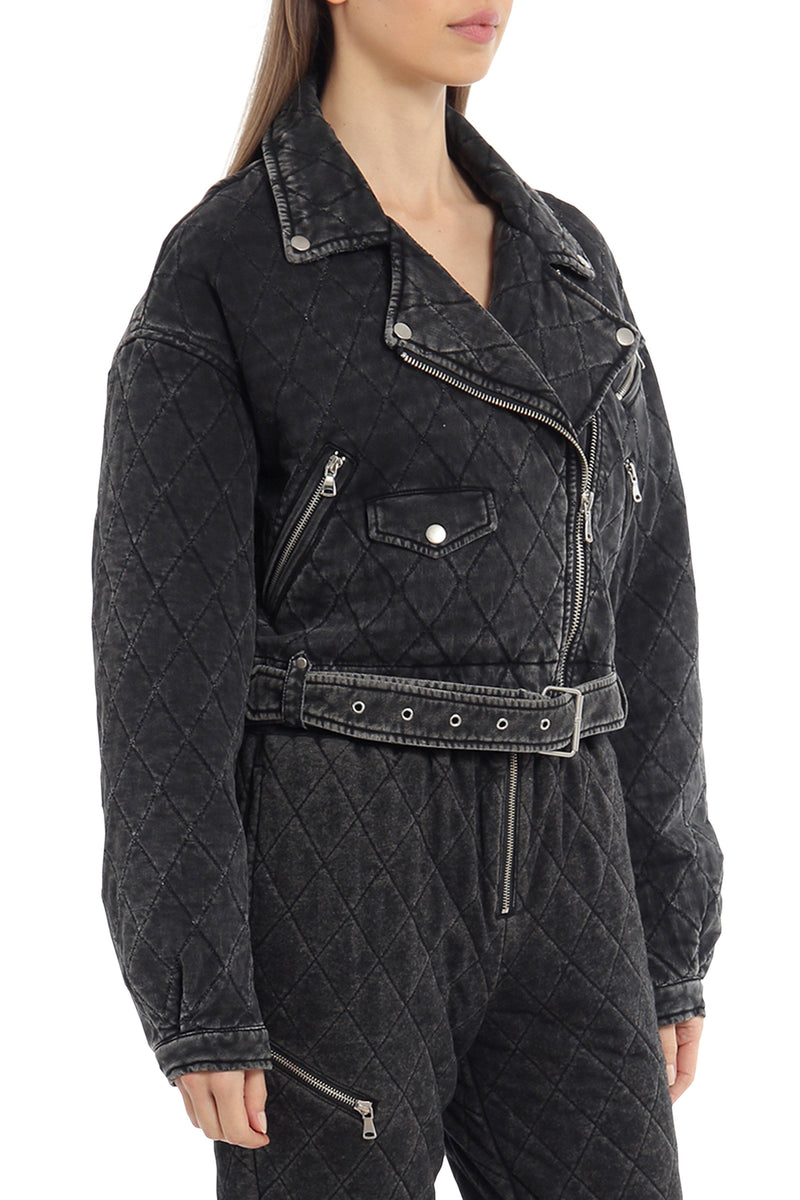Quilted French Terry Cropped Biker Outerwear Avec Les Filles