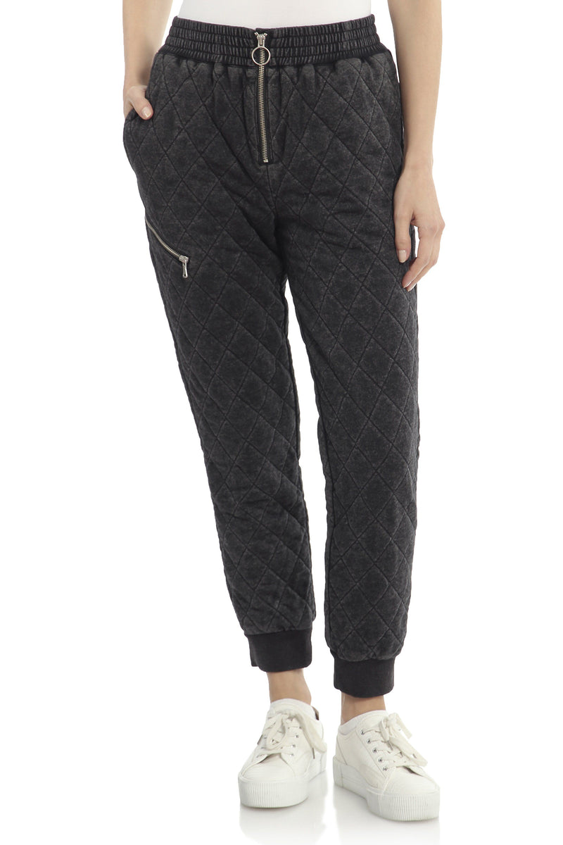 Quilted French Terry Jogger Bottoms Avec Les Filles Washed Black L