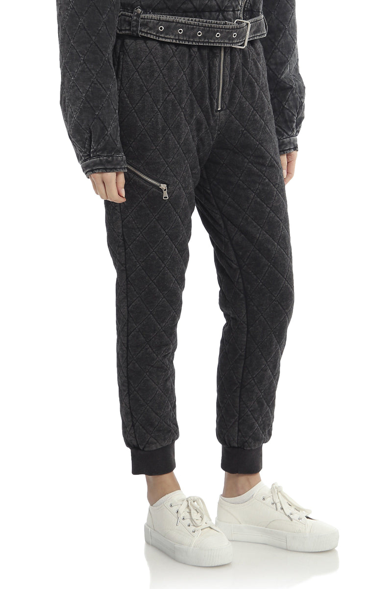 Quilted French Terry Jogger Bottoms Avec Les Filles
