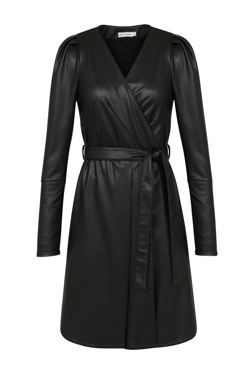 Vegan Leather Wrap Dress Dresses Avec Les Filles Black L