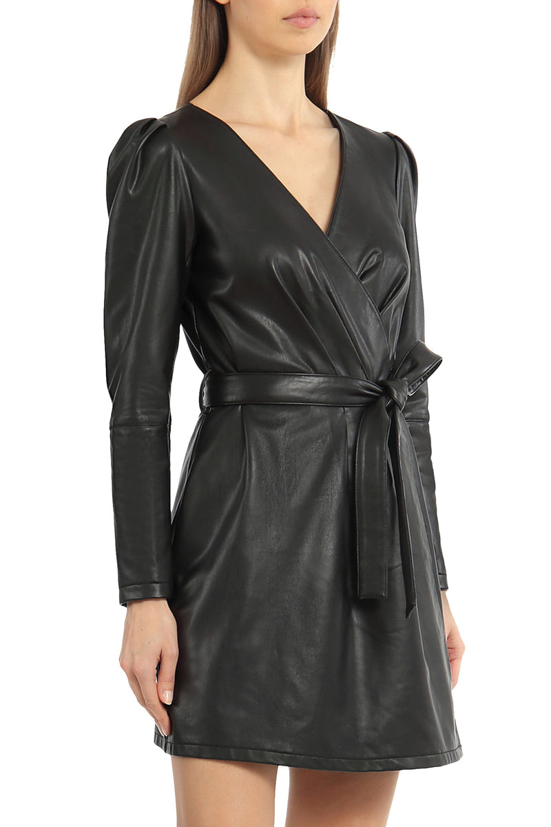 Vegan Leather Wrap Dress Dresses Avec Les Filles