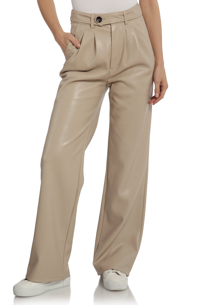 Vegan Leather Wide Leg Trouser Bottoms Avec Les Filles Sand L