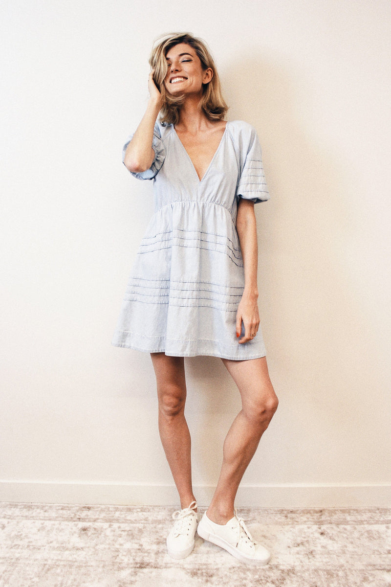 Tie-Back Cotton Babydoll Dress Dresses Avec Les Filles