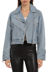 Cropped Denim Biker Outerwear Avec Les Filles Light Wash L