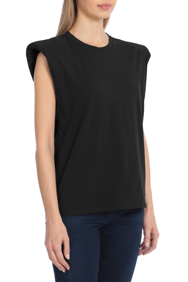 Sleeveless Cotton Shoulder Pad T-Shirt Tops Avec Les Filles