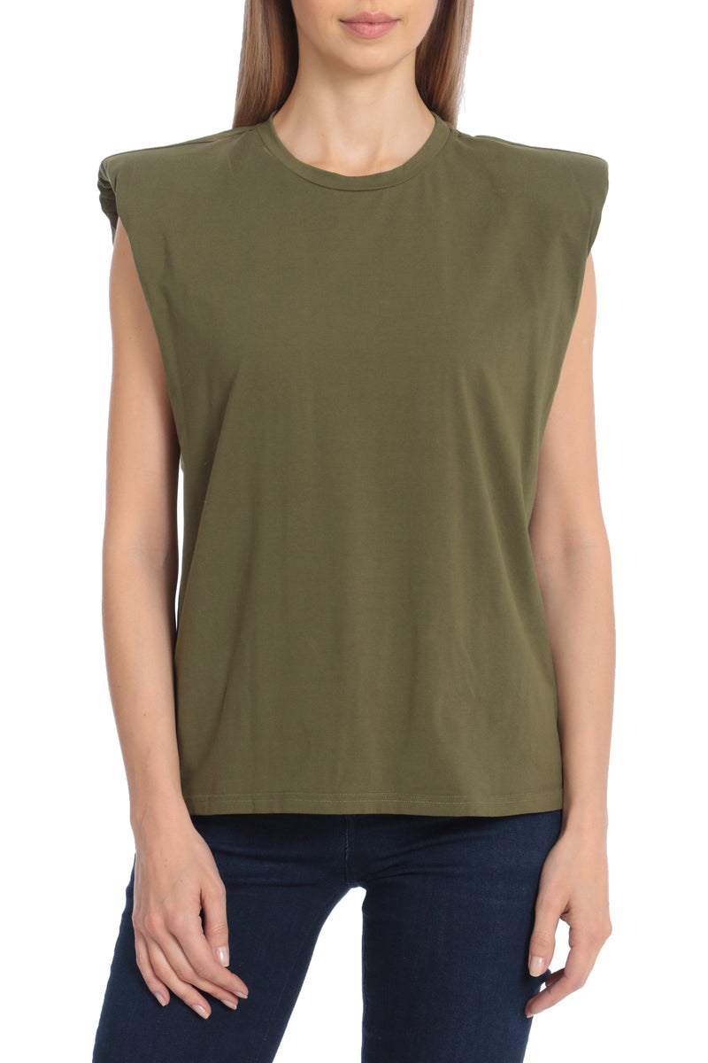 Sleeveless Cotton Shoulder Pad T-Shirt Tops Avec Les Filles Olive L