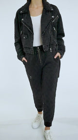 Quilted French Terry Cropped Biker