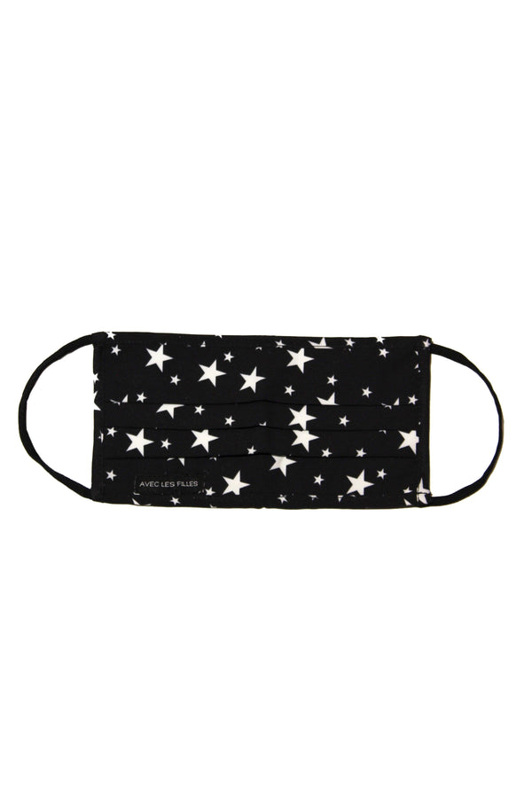 Star Print Cotton Mask Accessories Avec Les Filles Black