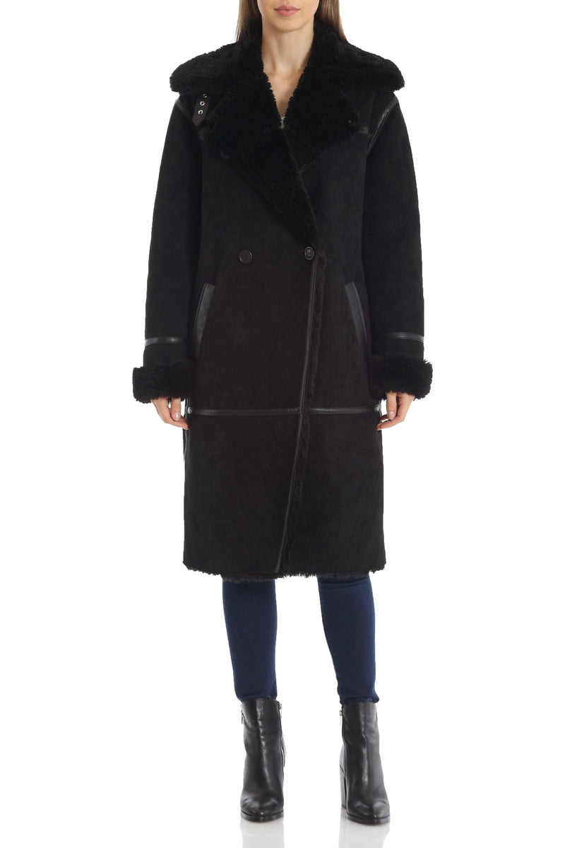 Double-Breasted Faux Shearling Coat Outerwear Avec Les Filles Black XS