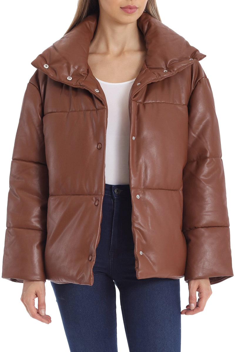 Oversized Vegan Leather Puffer Outerwear Avec Les Filles Saddle L