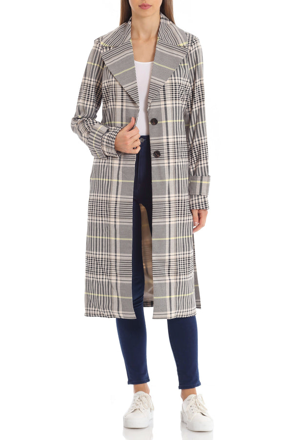 Menswear Plaid Trench Outerwear Avec Les Filles Yellow Multi L