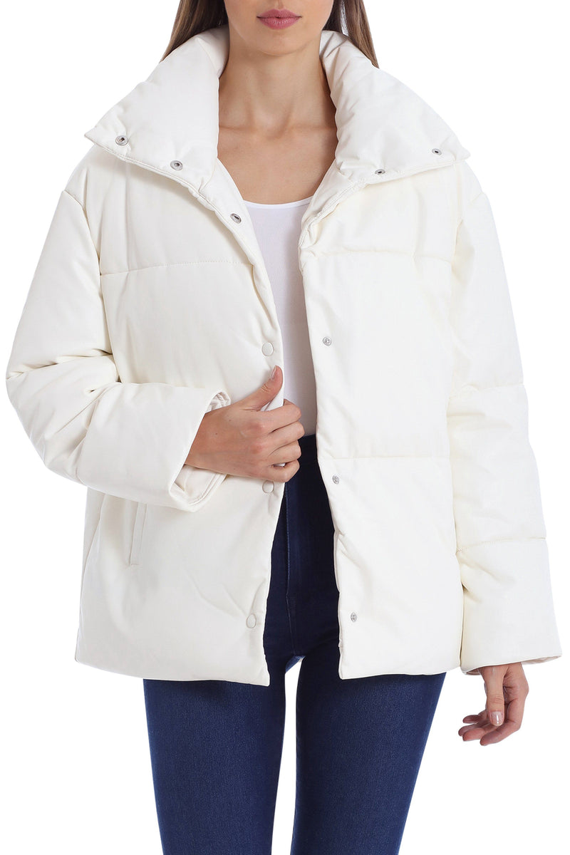 Oversized Vegan Leather Puffer Outerwear Avec Les Filles Cream XS