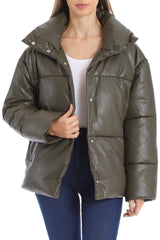 Oversized Vegan Leather Puffer Outerwear Avec Les Filles Olive L