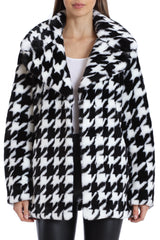Houndstooth Faux Fur Coat Outerwear Avec Les Filles 2XL Black/White Houndstooth