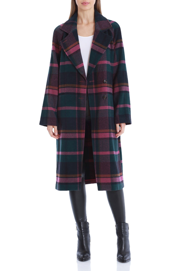 Plaid Double Face Wool Coat Outerwear Avec Les Filles Purple/Green L