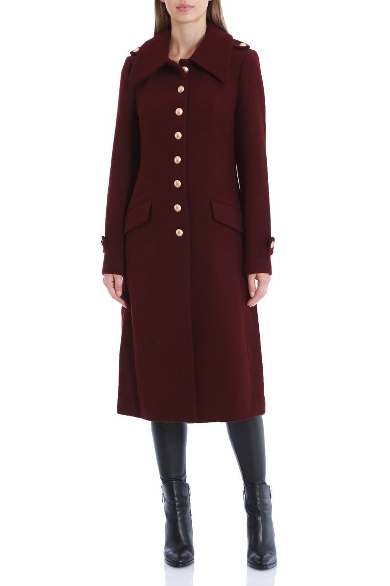 Wool Military Button Coat Outerwear Avec Les Filles 2XL Merlot