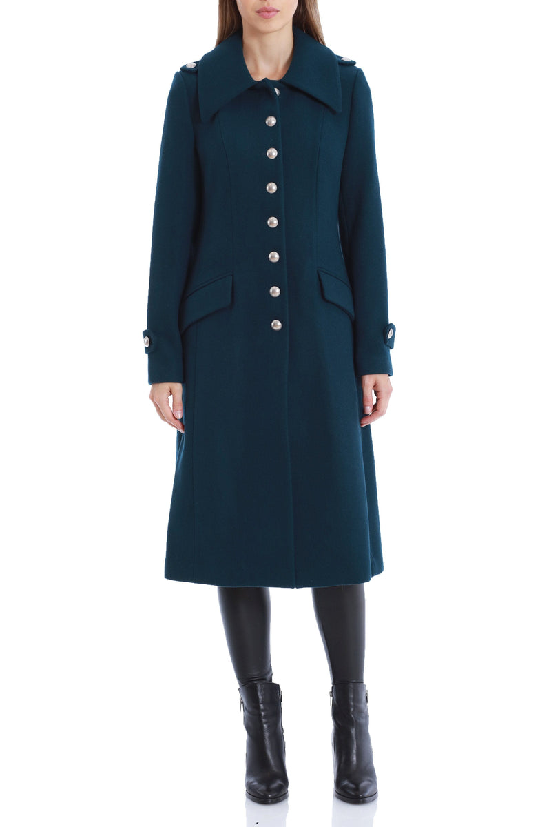 Wool Military Button Coat Outerwear Avec Les Filles 2XL Teal