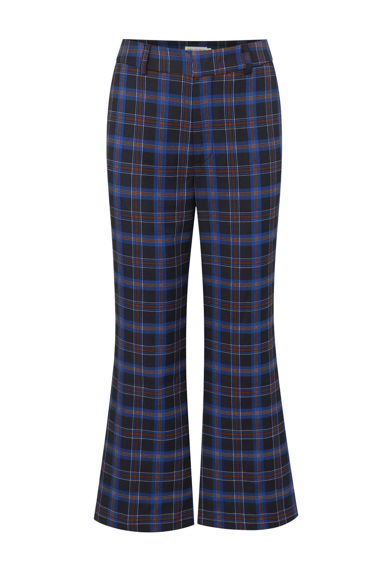 Plaid Kick Flare Trouser Bottoms Avec Les Filles Blue Plaid 10