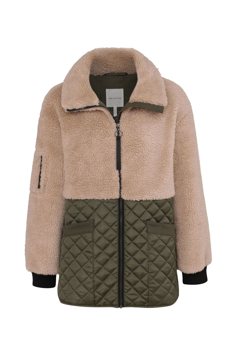Mixed Media Teddy Quilted Jacket Outerwear Avec Les Filles Oat-Olive L