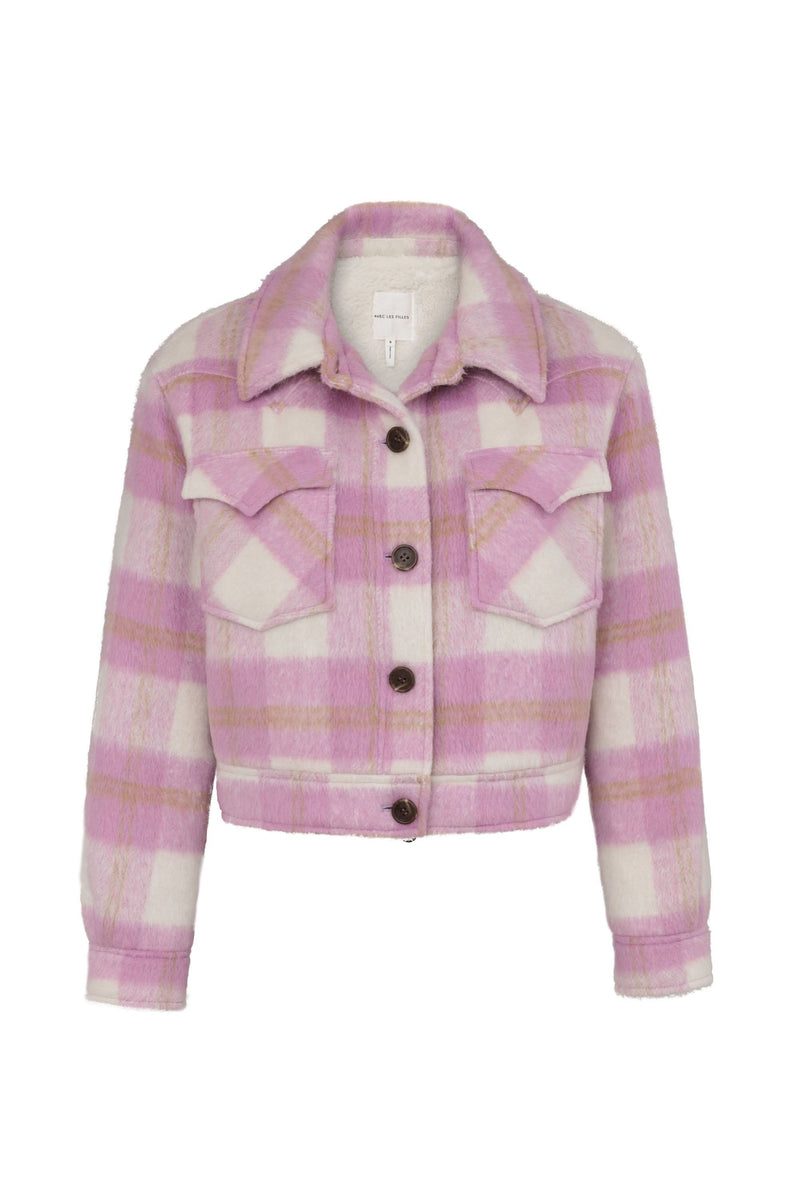 Cropped Plaid Wool Blend Jacket Outerwear Avec Les Filles Pink Plaid L