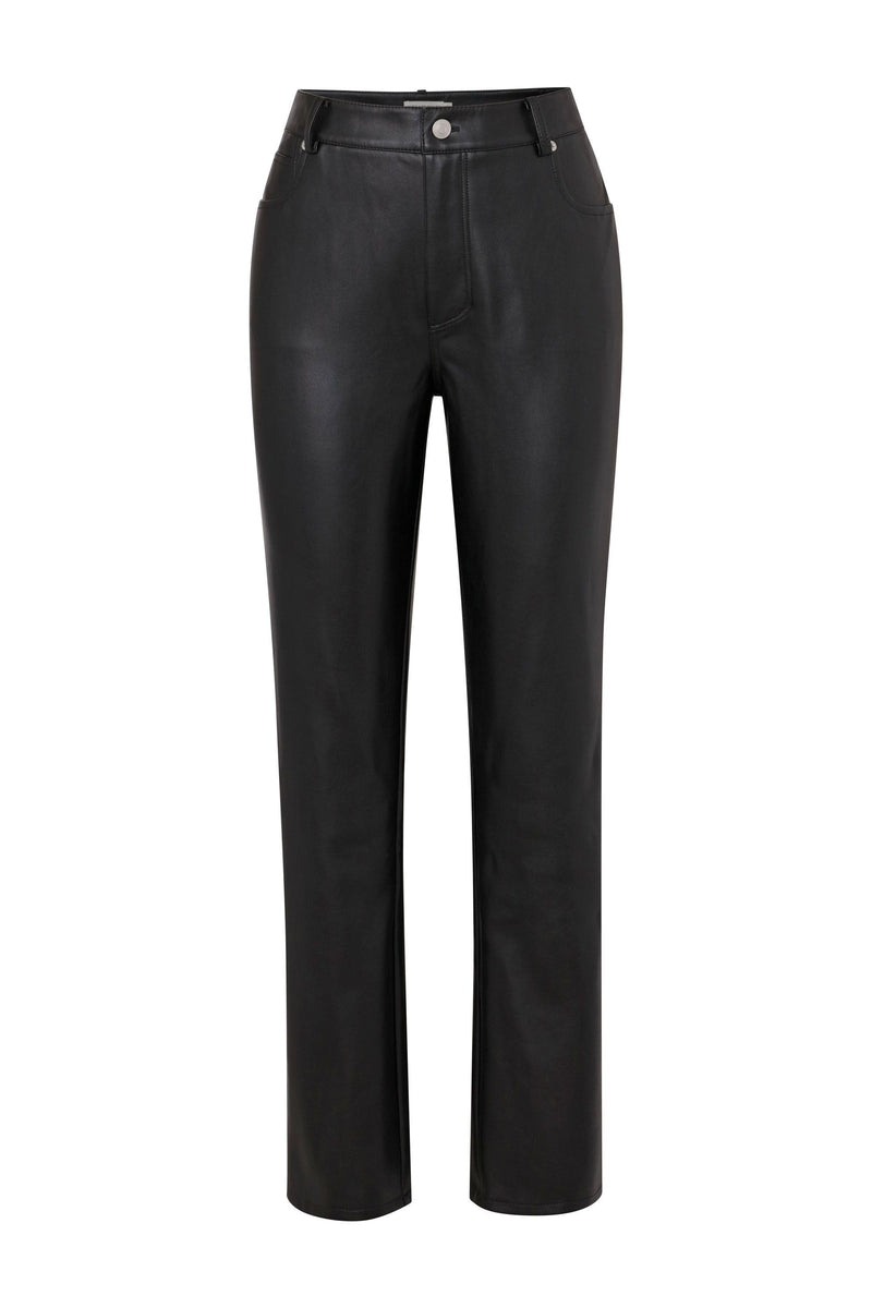 Straight Leg Vegan Leather Pant Bottoms Avec Les Filles Black 10