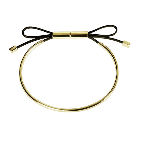 INA BEISSNER Leather Bow Gold Bracelet